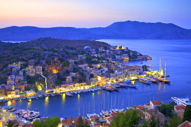 GR10165 Boats In Symi Harbour From Elevated Angle At Dusk, Symi, Dodecanese, Greek Islands, Greece, Europe
