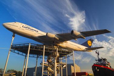 DE05637 Germany, Rheinland-Pfalz, Speyer,Technik Museum Speyer, airliner display including elevated Boeing 747