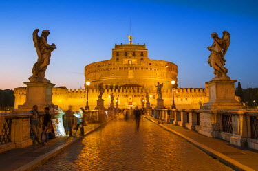 ITA4854AW Rome, Lazio, Italy. St Angel's Castle and St. Angel's Bridge at dusk.