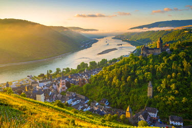 DE05768 Germany, Rhineland Palatinate, Bacharach and Burg Stahleck (Stahleck Castle), River Rhine