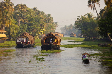 HMS0302510 India, Kerala State, Allepey, the backwaters, houseboats on the canals