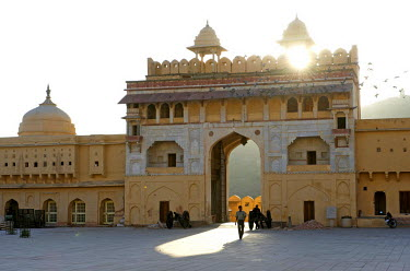 HMS0344850 India, Rajasthan state, hill fort of Rajasthan listed as World Heritage by UNESCO, Jaipur, Amber Palace or Amber Fort, Gate of the Sun (Suraj Pol)