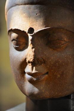 HMS0542451 India, Uttar Pradesh State, Mathura, Mathura Museum, Buddha head, Kushana period of the 1st-3d century AD