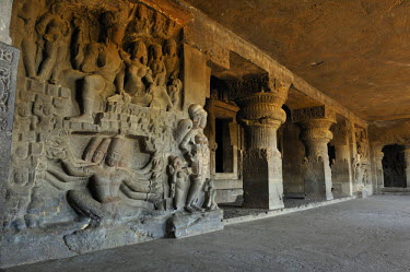HMS0603138 India, Maharastra state, Ellora, caves of Ellora listed as World Heritage by UNESCO, cave N821, VII century