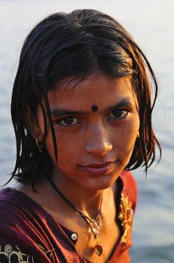 HMS0611449 India, Rajasthan state, Jamba, Young Bishnois girl