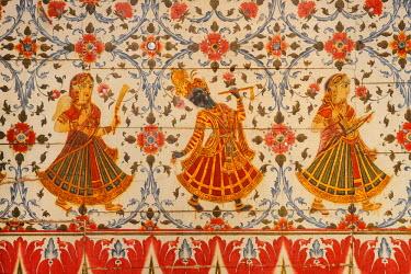 HMS0640732 India, Rajasthan state, Bikaner, Junagarh fort, Chattar Mahal, Krishna dancing with the Gopis