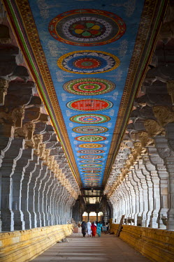 HMS0818658 India, Tamil Nadu state, Rameswaram, one of the holy cities of India and important pilgrimage site for both Shaivites and Vaishnavites, the Ramanathaswami temple famous for its four corridors lined wi...