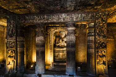 HMS0828924 India, Maharashtra state, Ajanta, inside a cave, pilars and Bouddha, listed as World Heritage by UNESCO