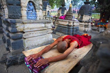 HMS1724433 India, Bihar state, Bodhgaya, the historical place at which the Enlightenment of Buddha took place, listed as World Heritage by UNESCO, monk in prostration in front of Mahabodhi Temple
