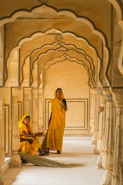 HMS1853886 India, Rajasthan State, hill fort of Rajasthan listed as World Heritage by UNESCO, Jaipur, Amber Palace or Amber Fort, Amber Palace