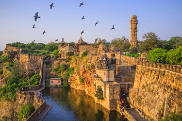 HMS1854011 India, Rajasthan State, hill fort of Rajasthan listed as World Heritage by UNESCO, Chittorgarh, the Gaumukh Kund