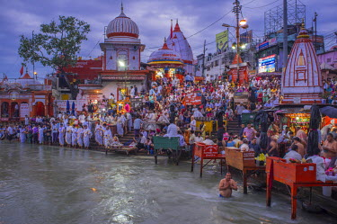 HMS1854097 India, Uttarakhand State, Haridwar, one of the nine holy cities to Hindus, on the banks of the Ganga river, the Ganga Aarti Ceremony is performed every evening at Har Ki Pairi ghat