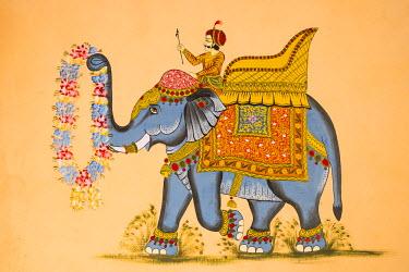HMS1854162 India, Rajasthan State, Jodhpur, the old city, mural