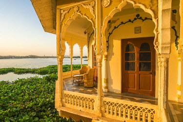 HMS1854240 India, Rajasthan State, Kishangarh, the Phool Mahal Palace on the shore of Gundalao Lake, constructed in 1870, served as the royal palace of the Kishangarh Maharaja and has now been converted into a c...