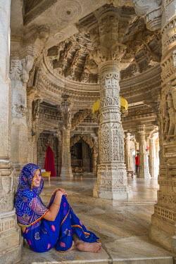 HMS1854259 India, Rajasthan State, Ranakpur, Adinath jain temple built in the 15th century in the heart of the Aravalli Range