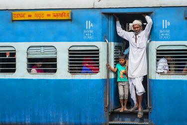 HMS1854304 India, Rajasthan State, Ranthambore National Park, Sawai Madhopur, a train station