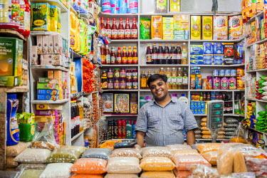 HMS2025226 India, New Delhi, INA Market (Indian National Army Market), food market