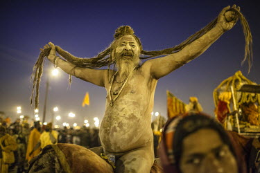 HMS2117869 India, Uttar Pradesh state, Allahabad, Kumbh Mela biggest gathering in the world in January 2013