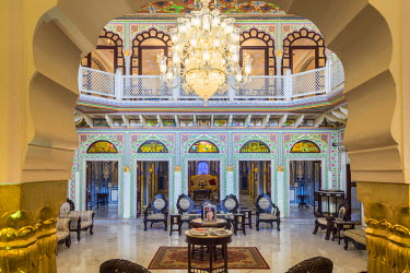HMS2190602 India, Rajasthan state, Shahpura, the luxury hotel Shahpura Haveli