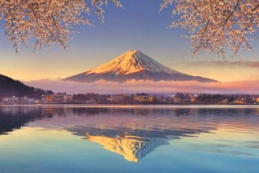 JP03575 Japan, Yamanashi Prefecture, Kawaguchi Ko Lake and Mt Fuji