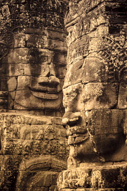 CM02071 Cambodia, Temples of Angkor (UNESCO site), Bayon, smiling face of Avalokiteshvara