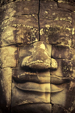 CM02072 Cambodia, Temples of Angkor (UNESCO site), Bayon, smiling face of Avalokiteshvara