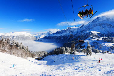 FRA8646 Europe, France, Haute Savoie, Rhone Alps, Chamonix Valley, Les Houches ski resort