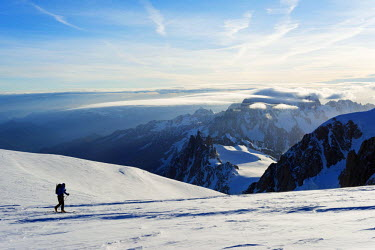 FRA8653 Europe, France, Haute Savoie, Rhone Alps, Chamonix, ski tourer on mont Blanc and Mont Blanc du Tacul (4248m) behind