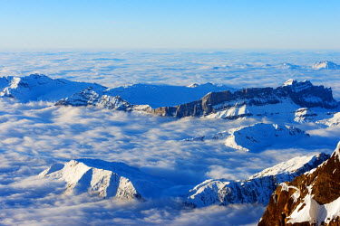 FRA8658 Europe, France, Haute Savoie, Rhone Alps, Chamonix, sea of clouds weather inversion over Chamonix valley