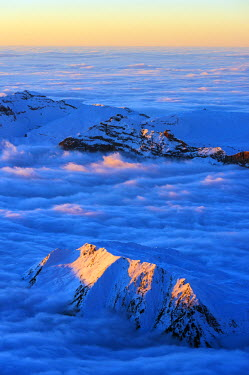FRA8660 Europe, France, Haute Savoie, Rhone Alps, Chamonix, sea of clouds weather inversion over Chamonix valley