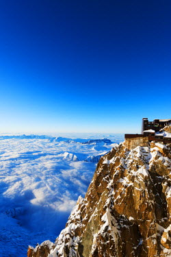 FRA8661 Europe, France, Haute Savoie, Rhone Alps, Chamonix, Aiguille du Midi and sea of clouds weather inversion over Chamonix valley