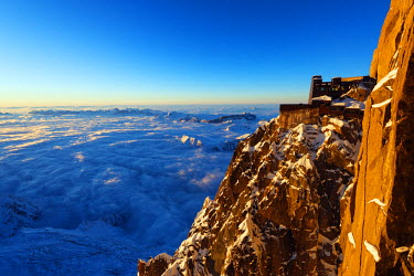 FRA8662 Europe, France, Haute Savoie, Rhone Alps, Chamonix, Aiguille du Midi and sea of clouds weather inversion over Chamonix valley