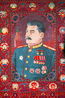 GEO0154 Eurasia, Caucasus region, Georgia, Shida Kartli, Gori, Museum of Joseph Stalin, embroidered wall carpet, Gori is birth place of Stalin