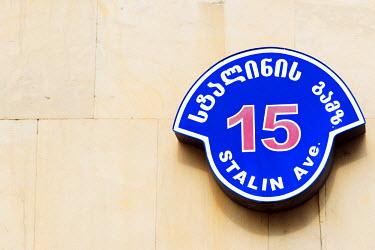 GEO0157 Eurasia, Caucasus region, Georgia, Shida Kartli, Gori, Stalin Avenue street sign, Gori is birth place of Joseph Stalin