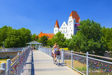 View across Danube River towards the New Palace, Ingolstadt, Upper Bavaria, Germany