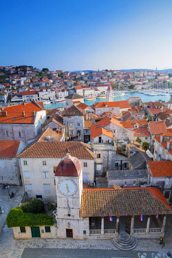 CRO1403AW Europe, Balkans, Croatia, Trogir, view from the bell tower of the cathedral of St. Lawrence showing the UNESCO protected historic centre of Trogir