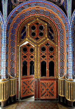 CLKFB20419 Palace of Sammezzano, Florence, Italy. The beautiful decor of the rooms inside the wonderful Tuscan palace.