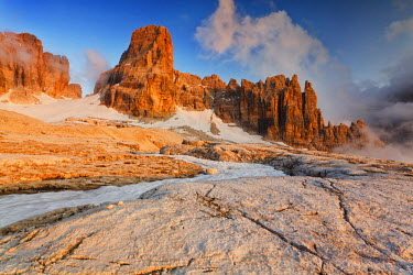 CLKGB7614 Brenta dolomites, Adamello-Brenta natural park, Trentino Alto Adige, Italy. A sunset on the Brenta Dolomites on Alimonta plateau, a wild and rugged area