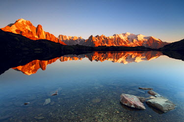 CLKLG4075 Alpine lake with Mount Blanc massif in the sunset, Chamonix