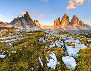 CLKLG69 Lavaredo's Three Peaks and Mount Paterno in a summer's sunset, Dolomites