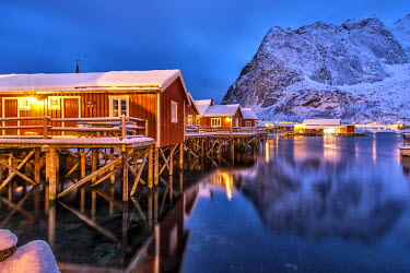 CLKRM7797 The typical fishermen houses called Rorbu in Reine at dusk. Lofoten islands. Norway