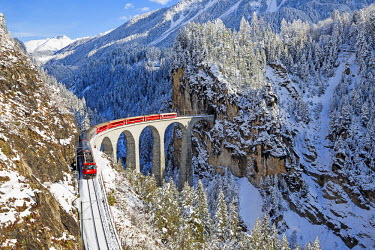 CLKSS18402 Bernina train at Landwasser viaduct, Unesco world heritage, Engadine, Switzerland