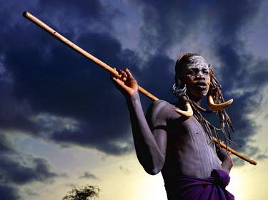 ETH2757AW Mursi man, Omo Valley, Ethiopia, Africa