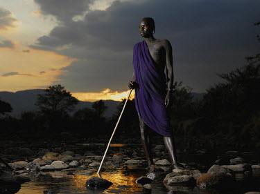 ETH2769AW Mursi man, Omo Valley, Ethiopia, Africa