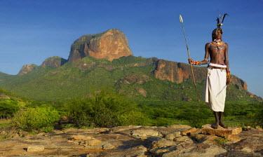 KEN10072AW Samburu warrior, Poi, Kenya, Africa