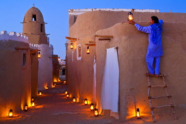 HMS0315678 Egypt, Lower Egypt, Libyan Desert, Bahareyya Oasis, Lazuli Lodge, Ecolodge
