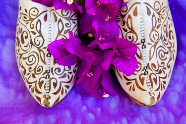 HMS0221654 Morocco, Haut Atlas, Marrakesh, Imperial city, detail of woman turkish slippers and bougainvillea