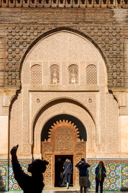 HMS2081807 Morocco, High Atlas, Marrakech, imperial city, medina listed as World Heritage by UNESCO, madrasah (Islamic school) Ben Youssef, it was built around 1570 by the Saadian and restored in 1950