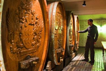 HMS0375704 South Africa, Western Cape, on the wine route, Stellenbosch, cellar of Die Bergkelder, old barrels