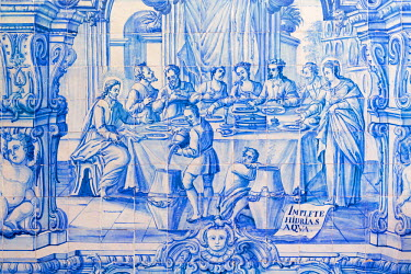 POR8458AW Europe, Portugal, Alentejo, Redondo, baroque azulejo of Christ's first miracle - turning water into wine at the Convent of St. Paul